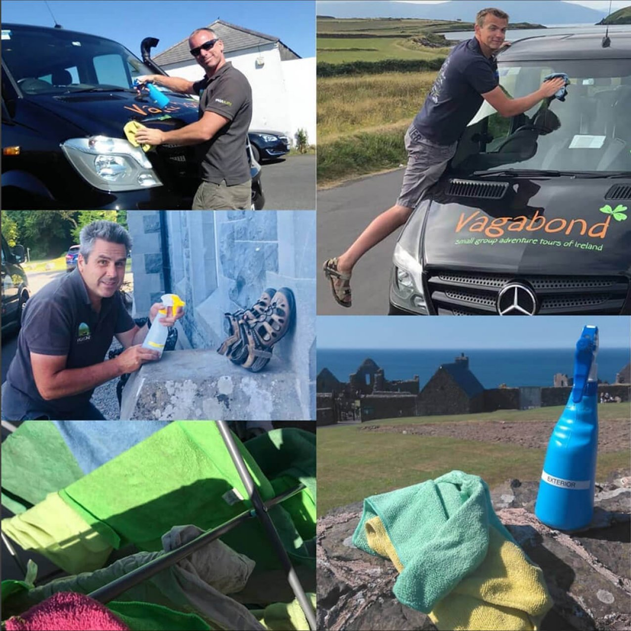 Collage of Vagabond Tours of Ireland guides cleaning buses
