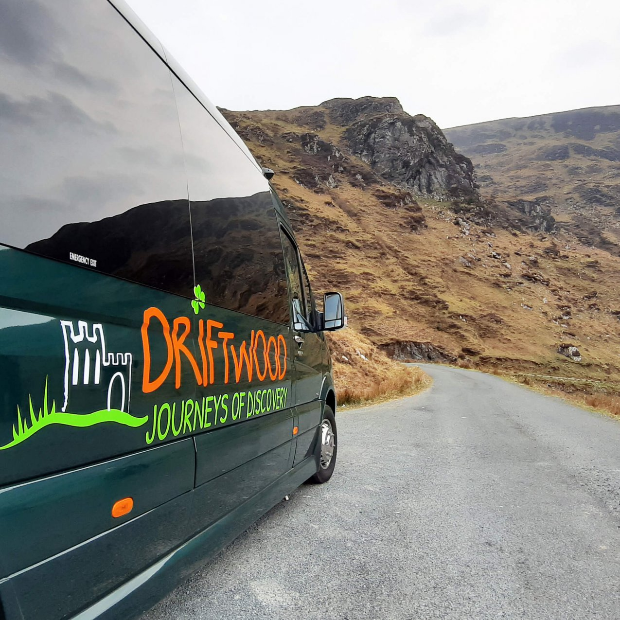 Side view of a Drifter tour vehicle on the Granny Pass in Donegal