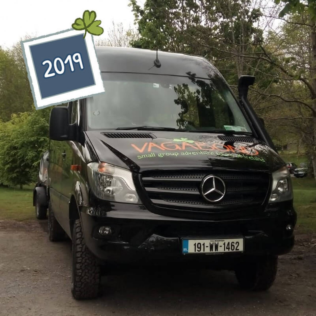 Front view of a 2019 Mercedes VagaTron 4x4 tour vehicle with 2019 date graphic in the upper left corner