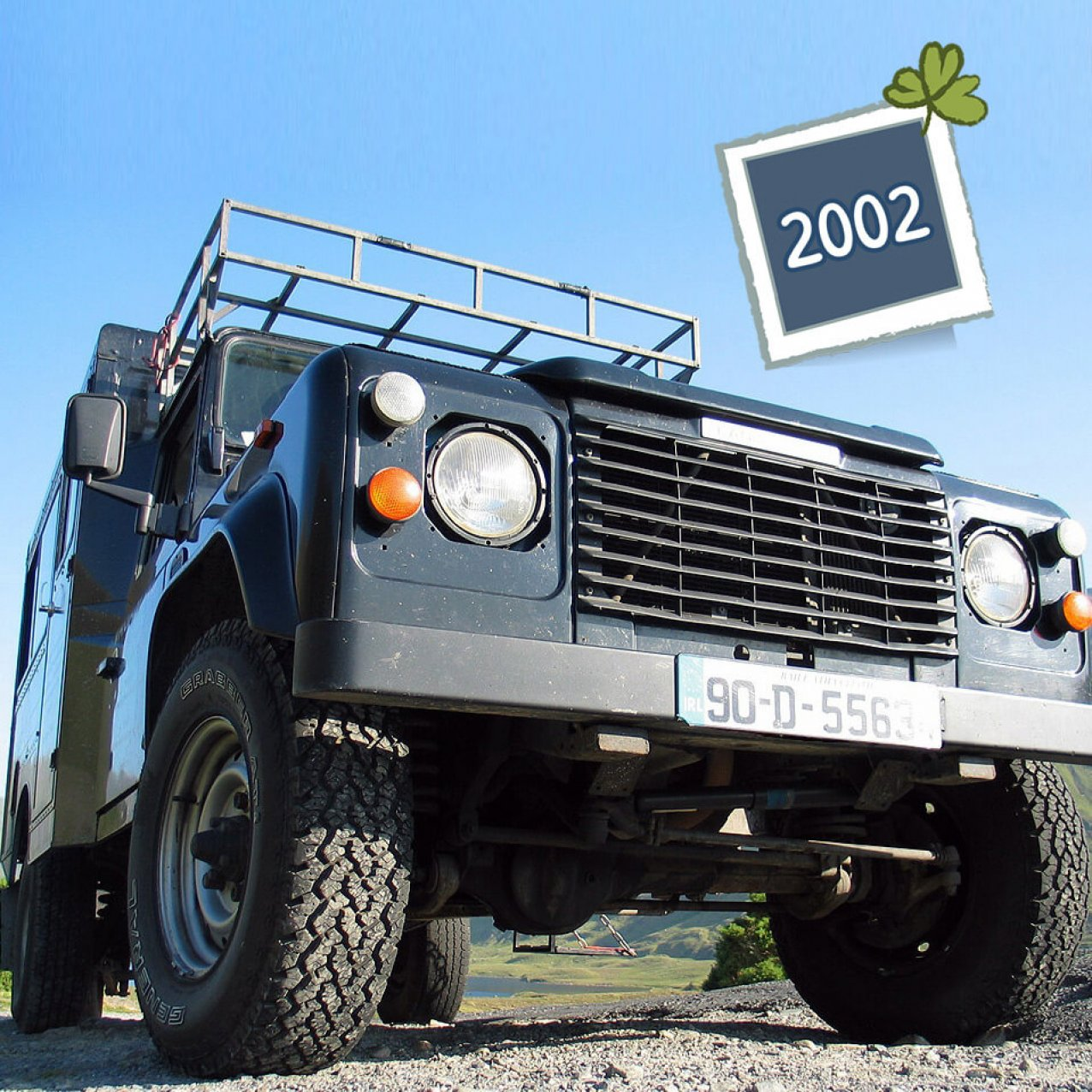 A from-the-ground perspective of the original 1990 Land Rover Defender VagaTron 4x4 tour vehicle for Vagabond Tours of Ireland
