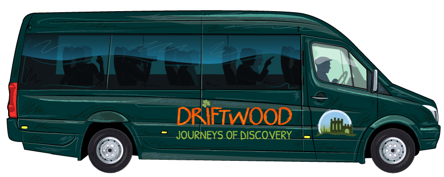 Illustrated Mercedes Driftwood tour vehicle from Ireland