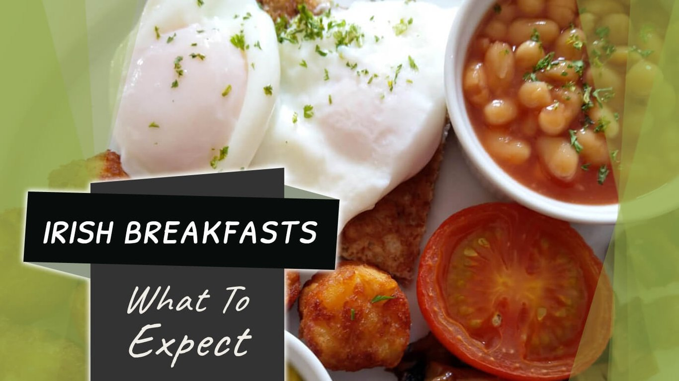 Irish Breakfasts: What To Expect feature image with eggs, baked beans and tomatoes