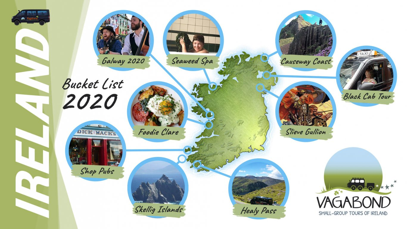 Vagabond Tours Ireland bucket list 2020 map graphic
