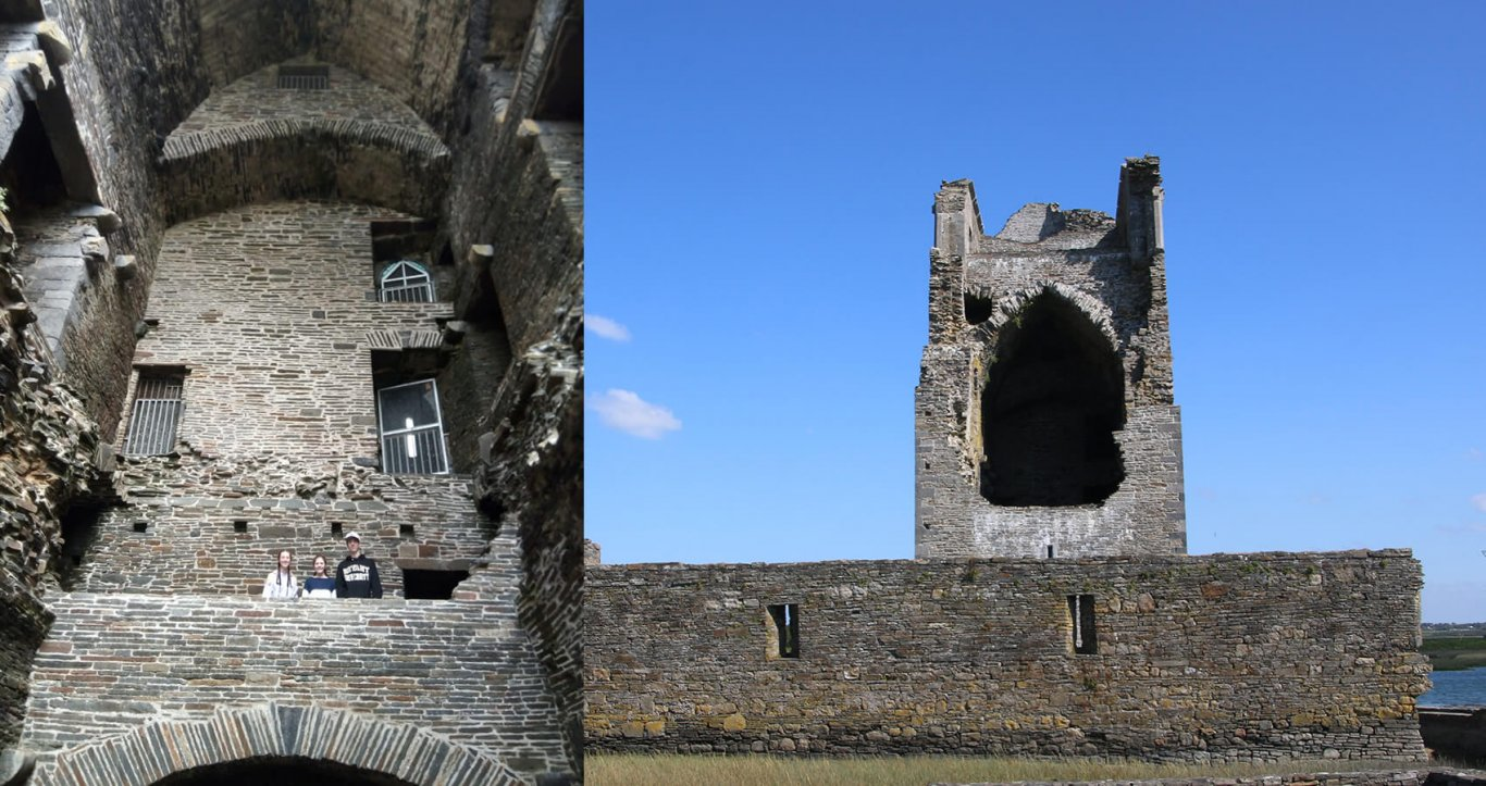 Group Exploring the interior and exterior of Carrigafoyle Castle in Ireland