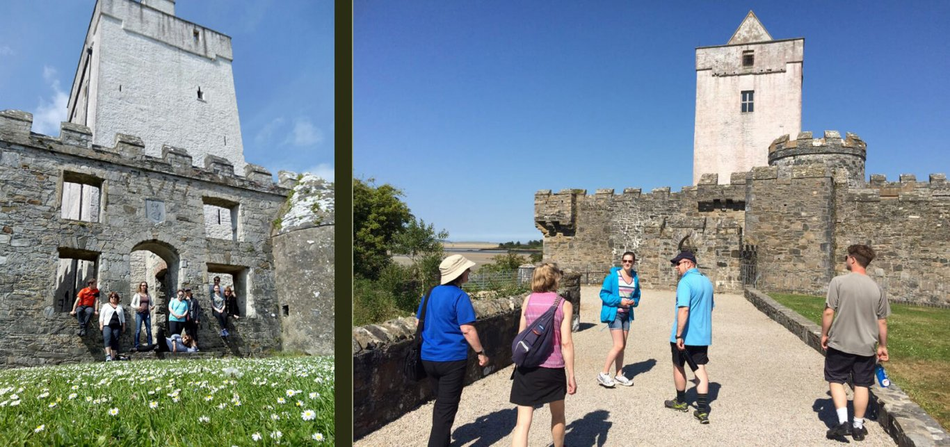 Tour groups visiting Doe Castle in Donegal, Ireland