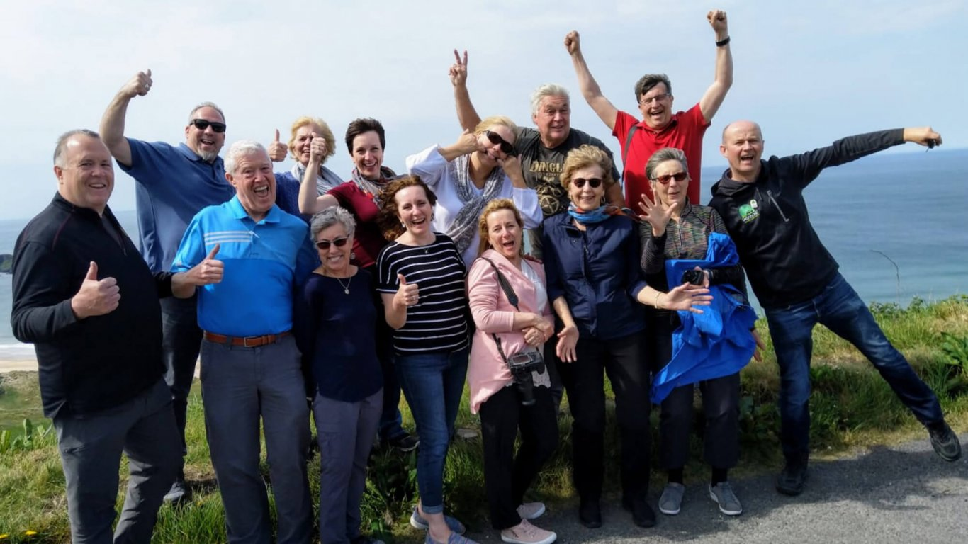 Group shot of Mark's fun Driftwood tour group in Northern Ireland