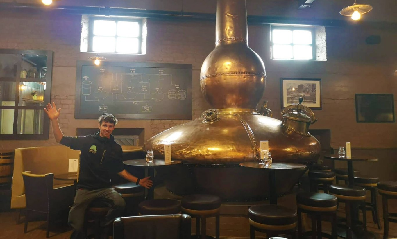 VagaGuide Darran enjoying Bushmills Distillery Tour