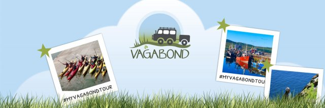 Graphic showing polaroids of travel in Ireland with the Vagabond Tours logo on a blue background and a green grass footer overlay