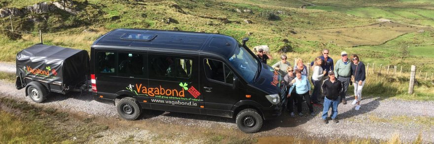 Vagabond Tour Group exploring Ireland with vehicle