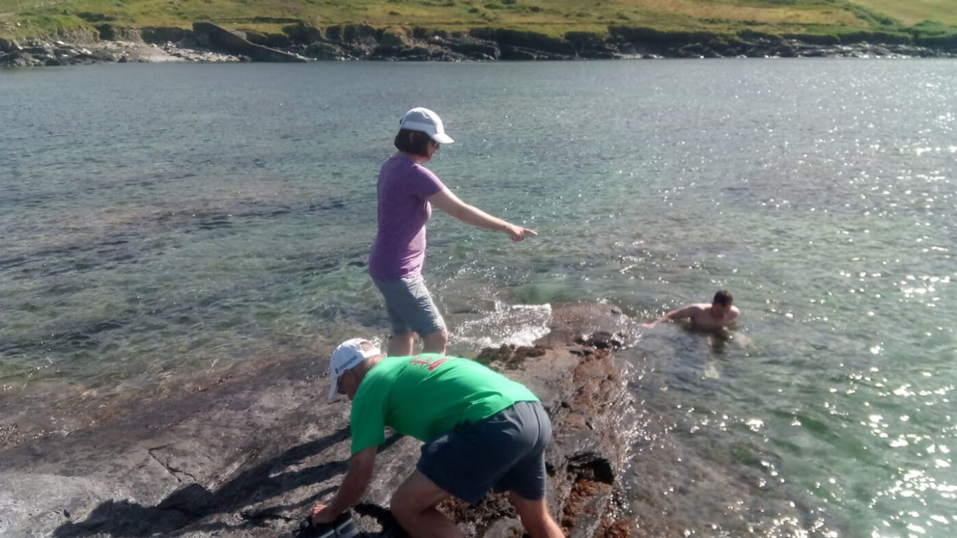 Tour guest spotting jellyfish in Ireland