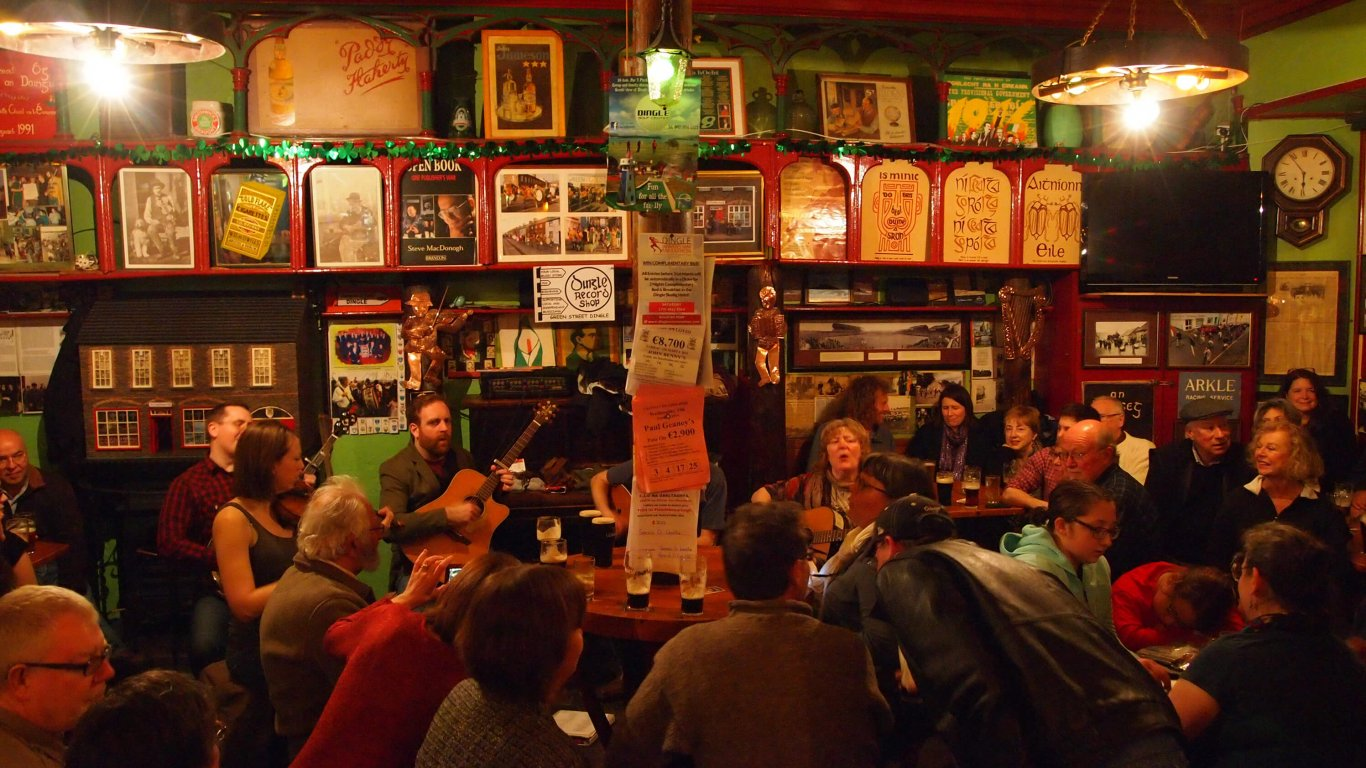 Traditional music session group inside Flaherty's pub in Dingle, Ireland