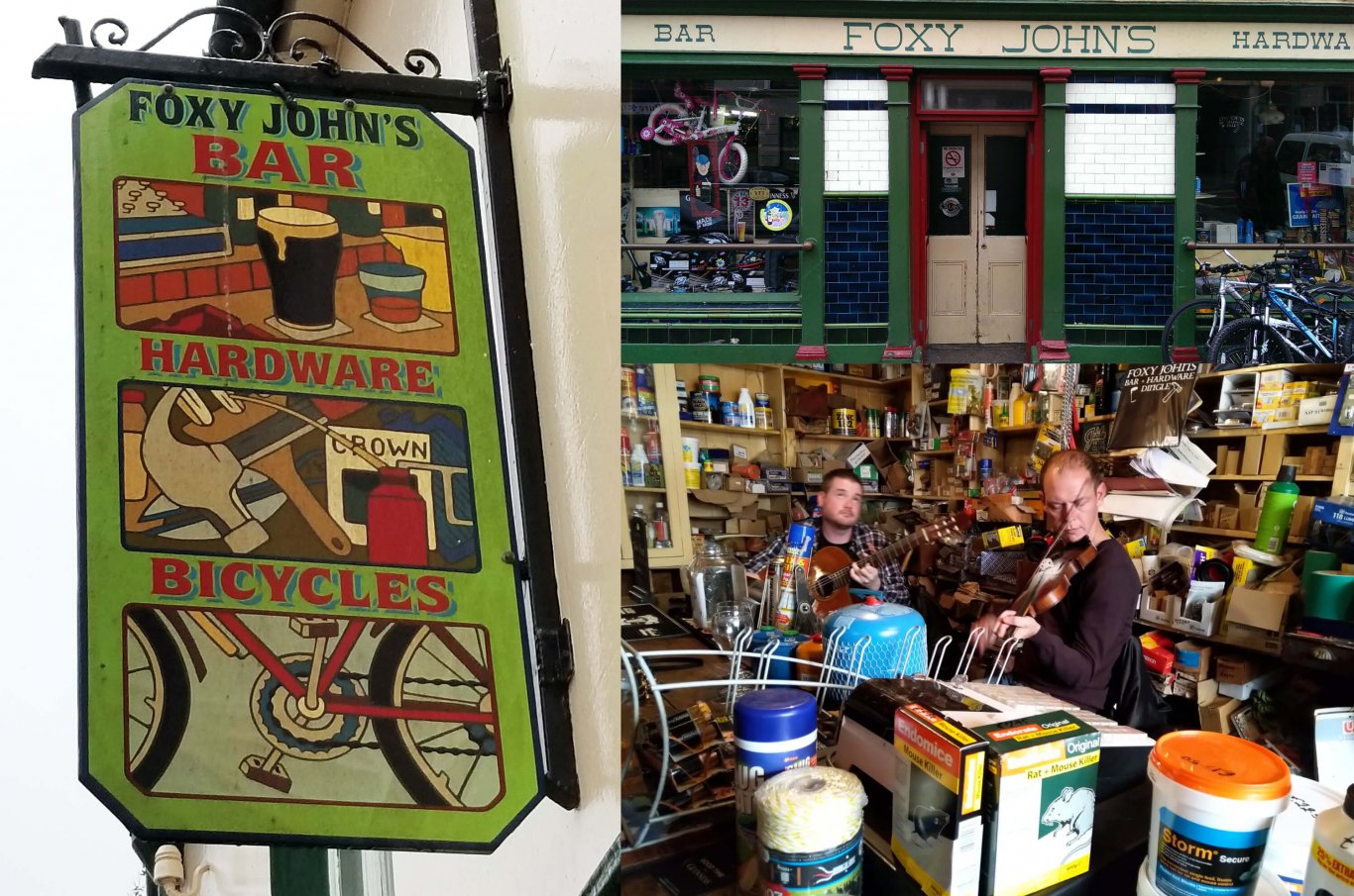 Collage of scenes from Foxy John's pub in Dingle, Ireland