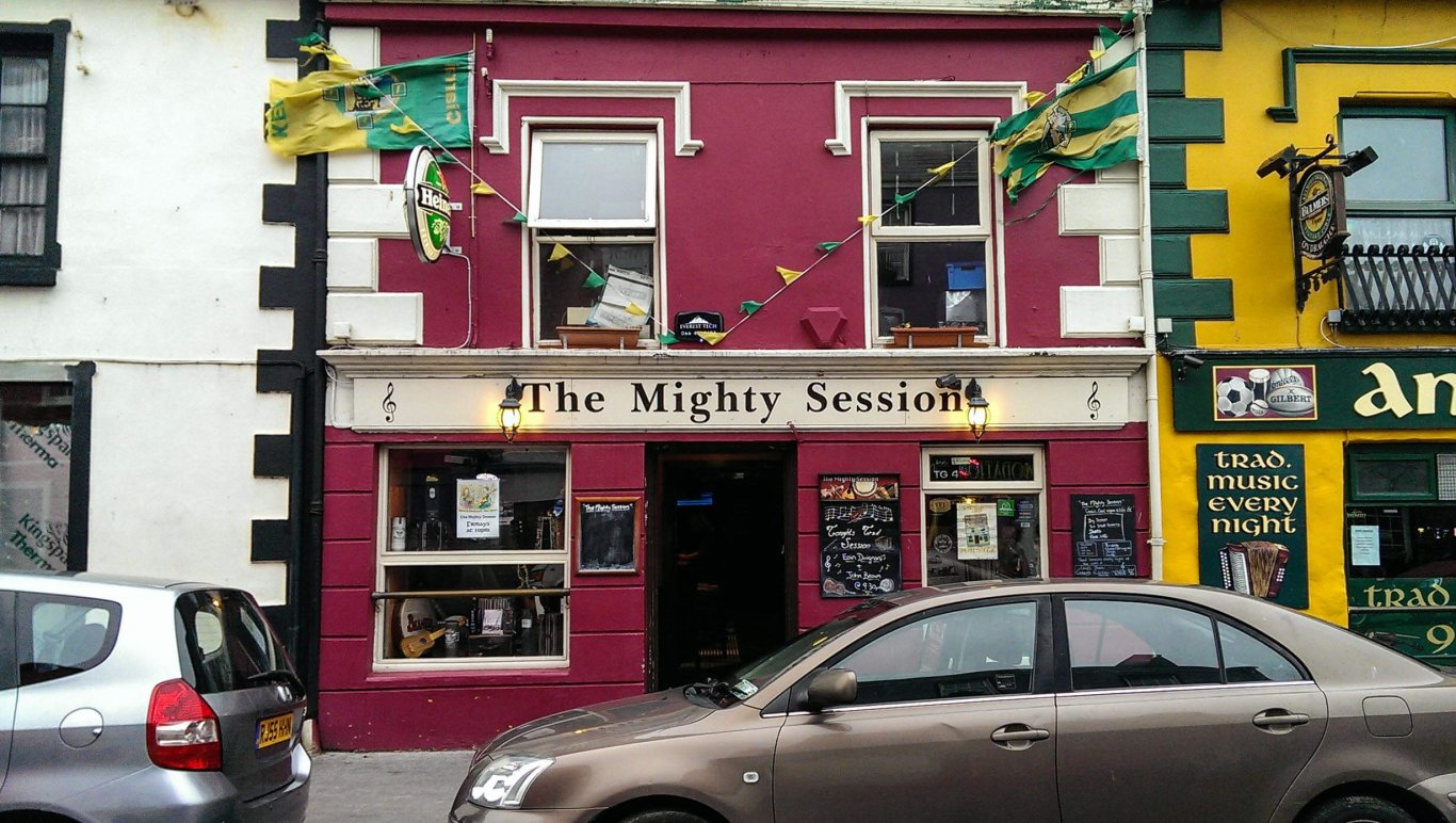 The Mighty Session pub exterior in Dingle, Ireland