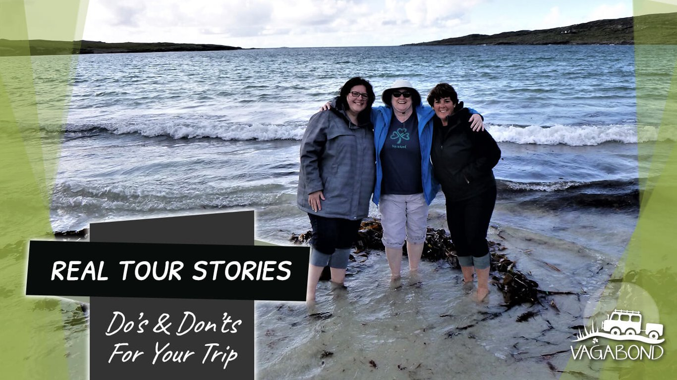 Three tour guests in the Atlantic Ocean in Ireland with text and graphics