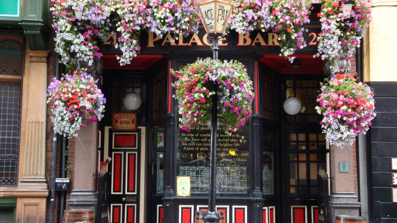The exterior of the Palace Bar in Dublin, Ireland