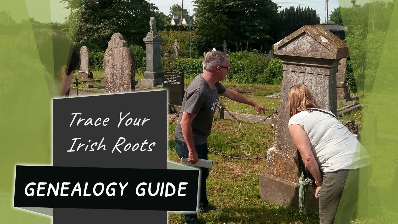 Feature image for Family roots blog showing people in graveyard in Ireland