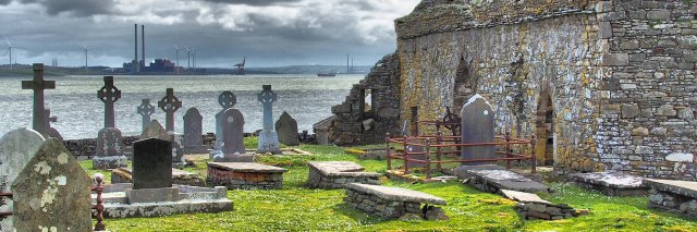 Graveyard and church on Scattery Island in Ireland