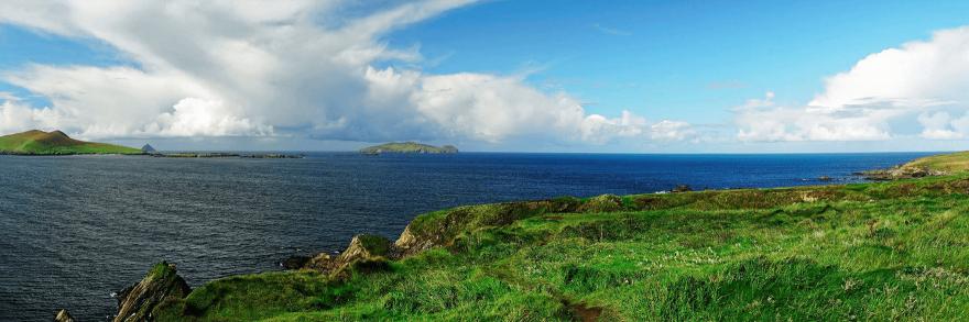 A panoramic view of Slea head on a sunny day in September