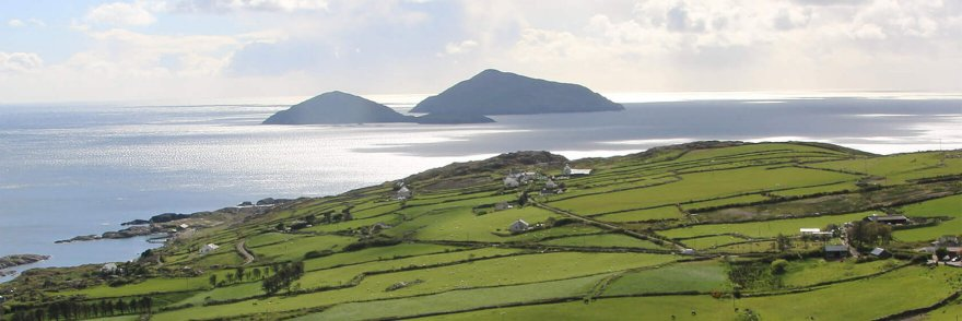 The ring of kerry with patchwork green fields and islands in view