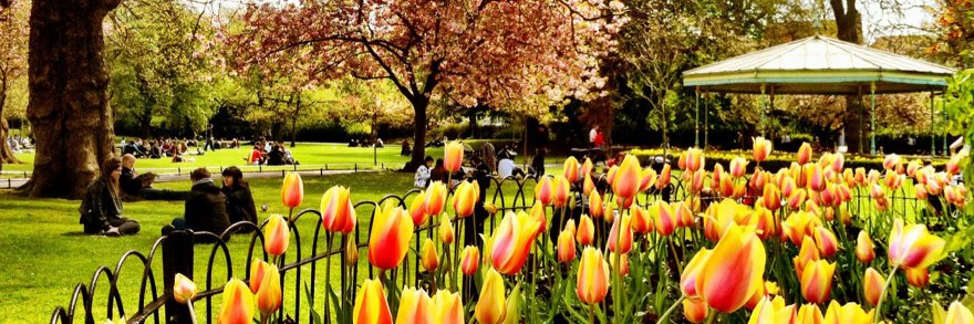 St Stephens green on a spring day with flowers in bloom and people enjoying themselves sitting on the grass