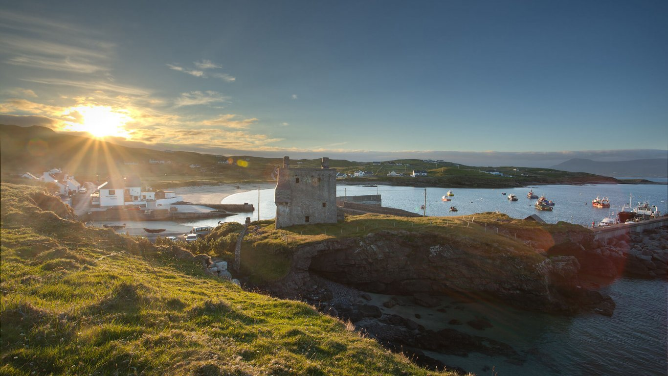 Sunset over Grace O'Malley's fortress on Clare Island in Ireland