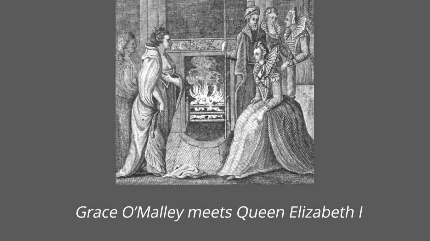 Engraving showing Grace O'Malley meeting Queen Elizabeth I