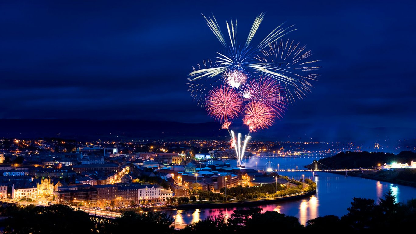 Foyle Derry fireworks in Ireland at Halloween