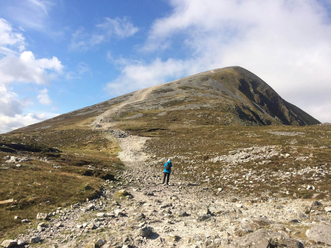 Tour guest hiking in Ireland at Croagh Patrick mountain in Mayo