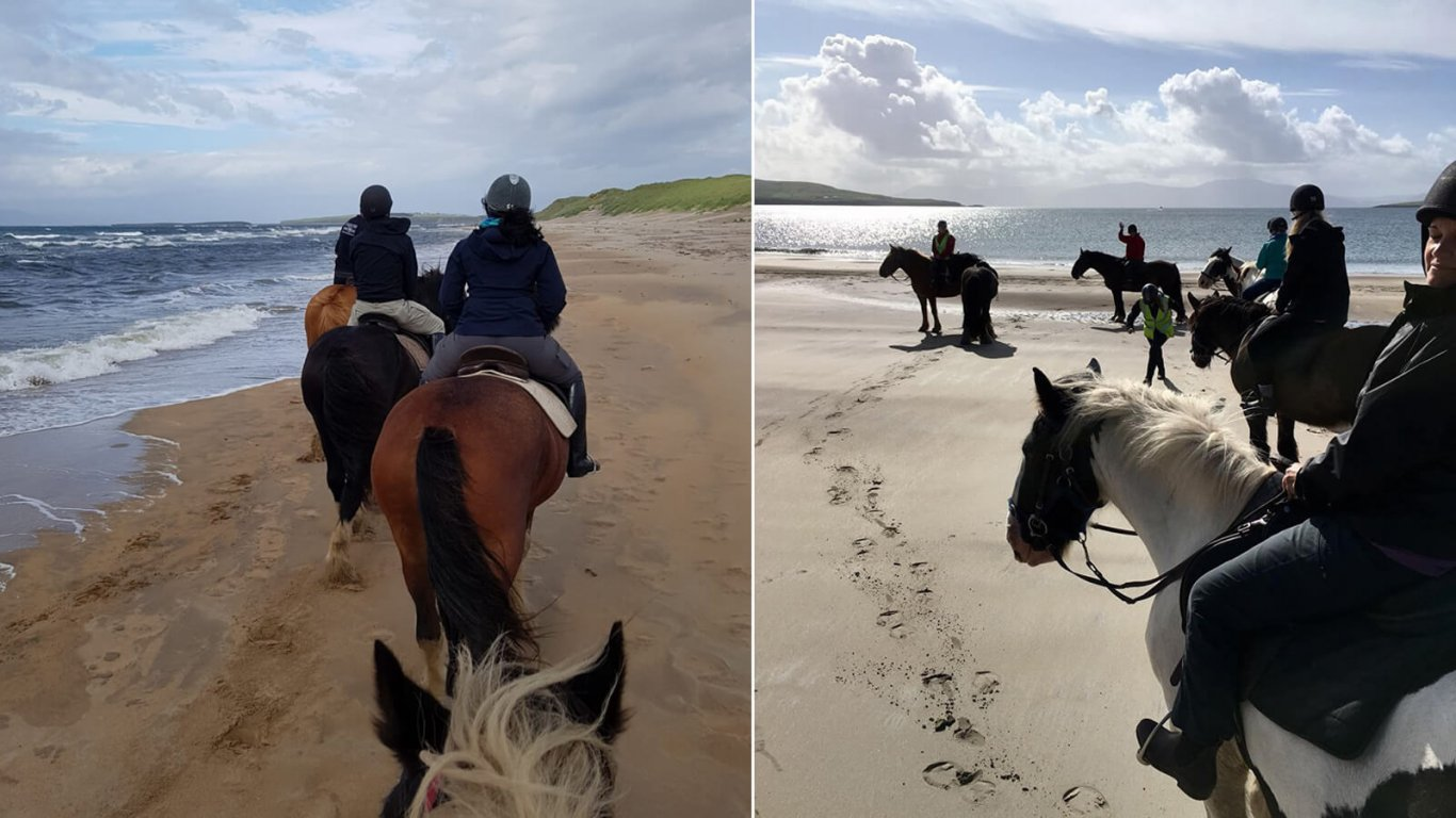 Two groups of horseback riding tour groups on beaches in Ireland