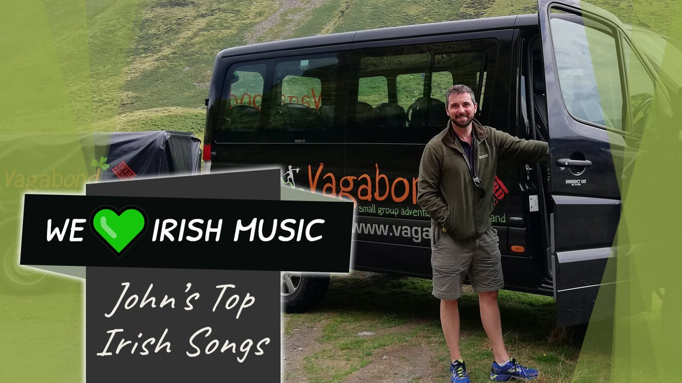 John's Top Irish Songs blog feature image with tour vehicle in Ireland