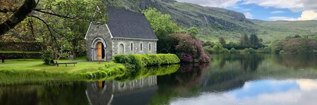 Scenic Gougane Barra church in June in Ireland