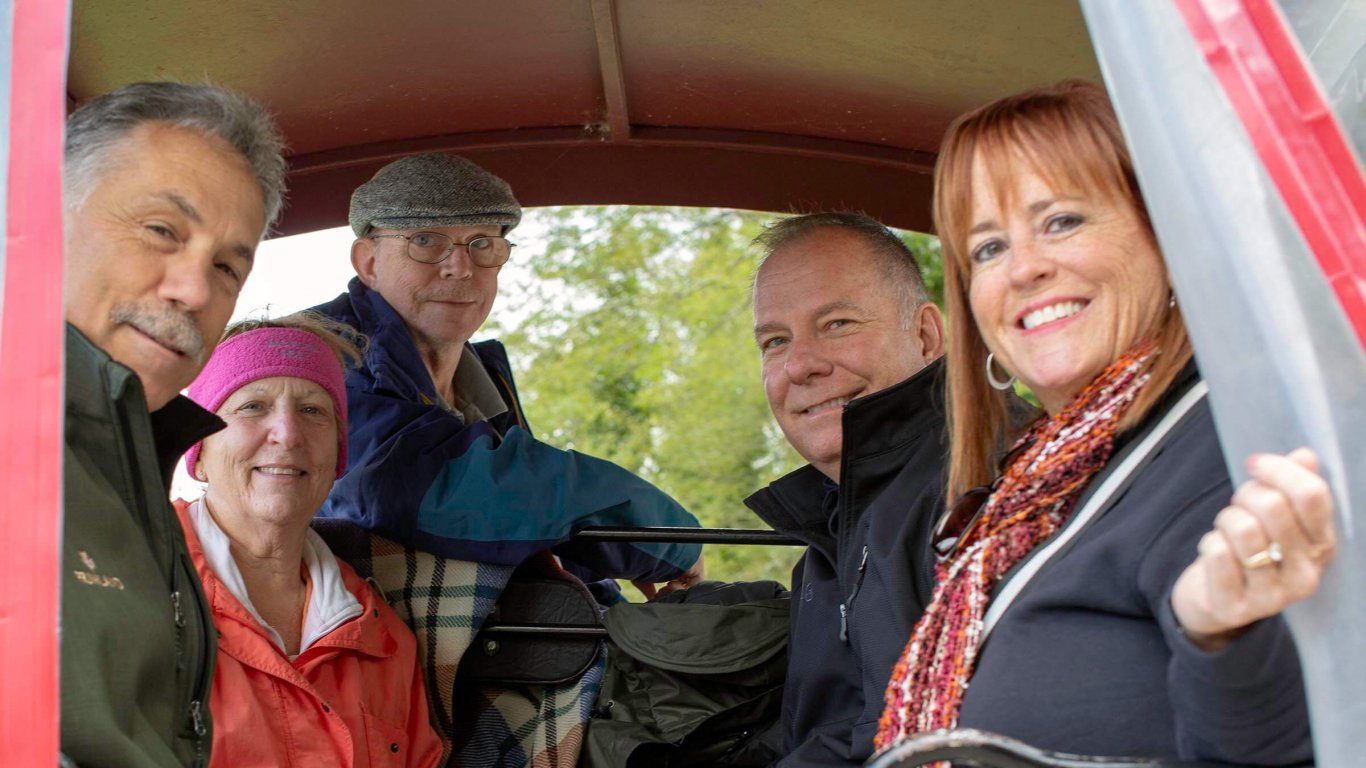 Driftwooder group in a horse-drawn carriage in Killarney National Park