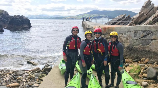 Group in kayaking gear in Ireland