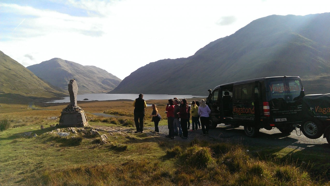A Vagabond group taking in the views at the Doolough Valley in the sunshine