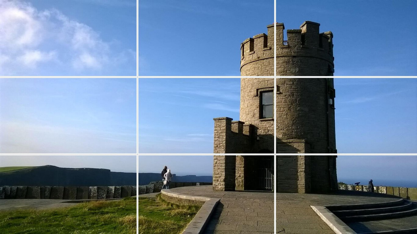 O'Brien's Tower at the Cliffs of Moher in Ireland with Rule of Thirds lines overlaid