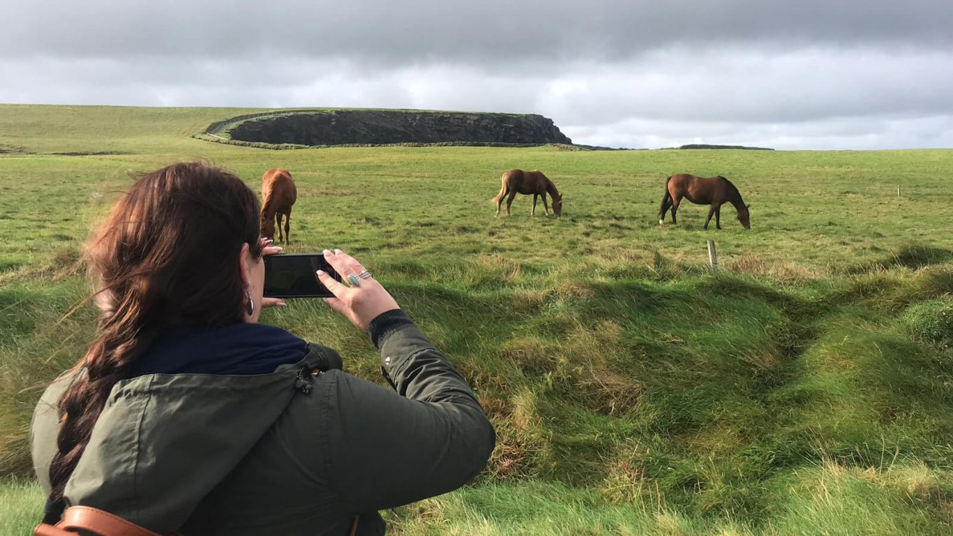 Vagabond Tours guest photos three horses at a scenic location in Ireland
