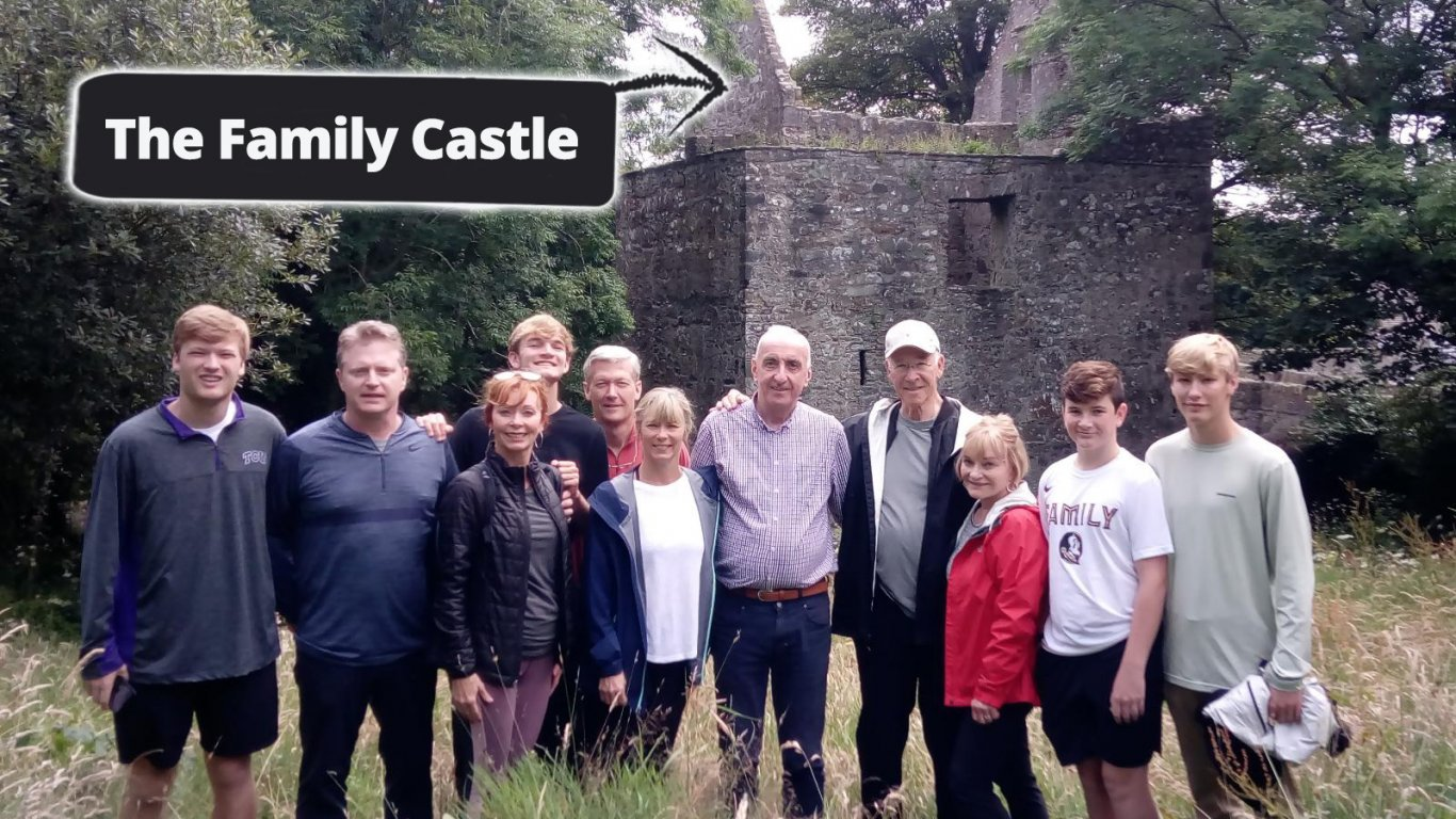 Happy Family Group at Their Ancestral Castle a Private Tour of Ireland with Vagabond