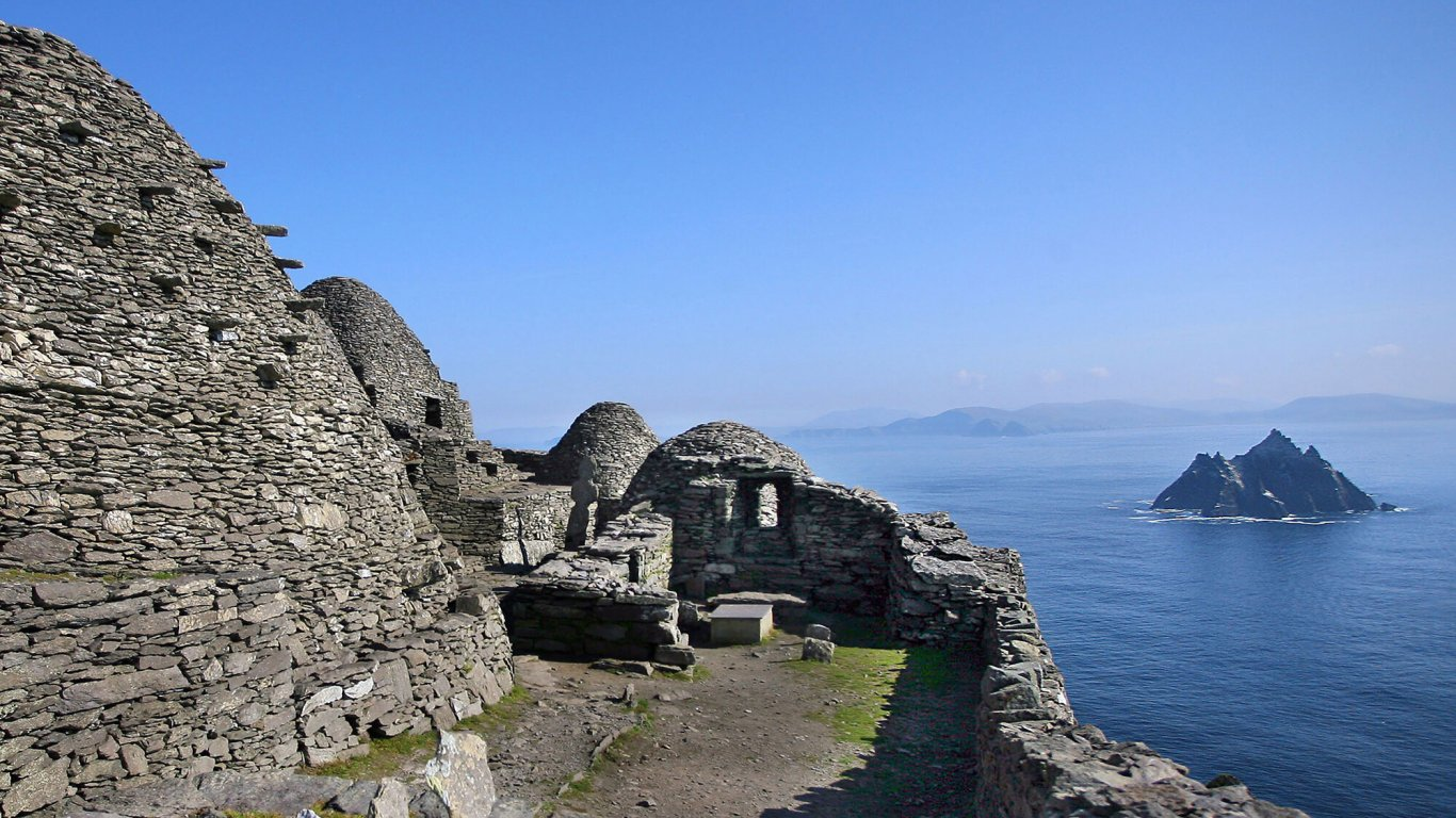 Scenic view from Skellig Michael's beehive huts towards Little Skellig