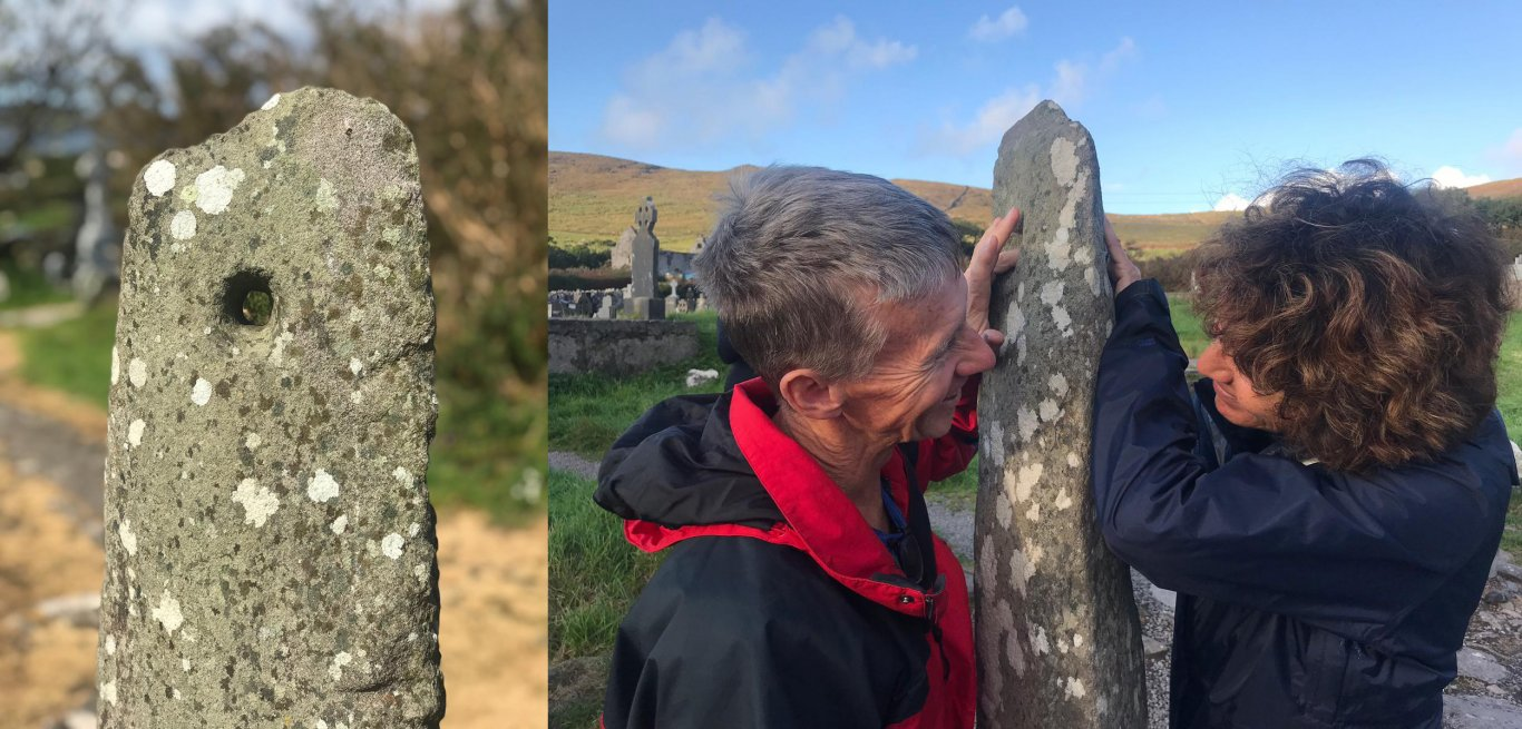 A couple renew their vows at the Ogham stone near Kilmakedar in Dingle, Ireland