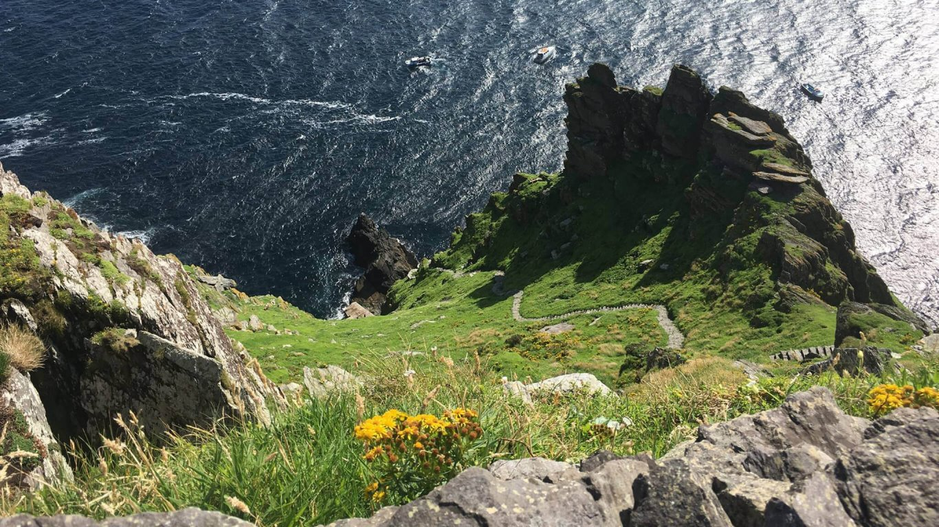 A view of how steep Skellig Michael is