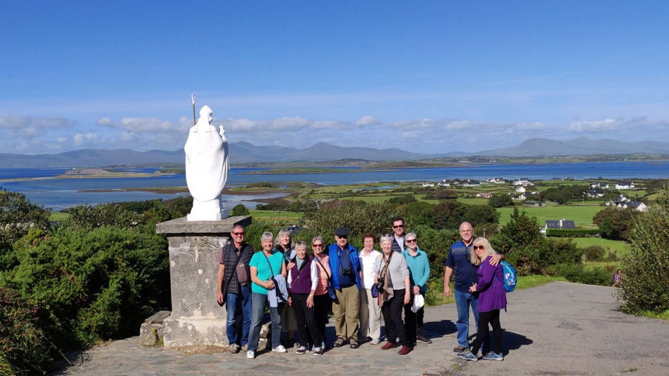 Guests on Croagh Patrick overlooking Clew Bay