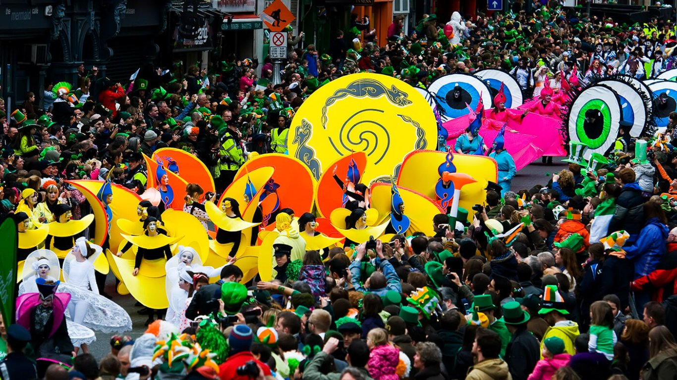 An aerial shot of the St. Patrick's Day Parade in Dublin