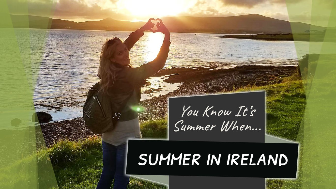 Feature image for summer in Ireland blog featuring a female tour guest and a sunset in scenic location