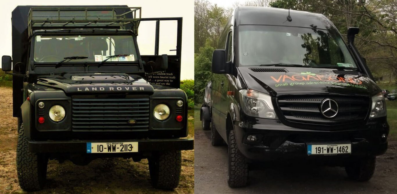 Land Rover Defender and Mercedes tour vehicles for Vagabond Tours of Ireland