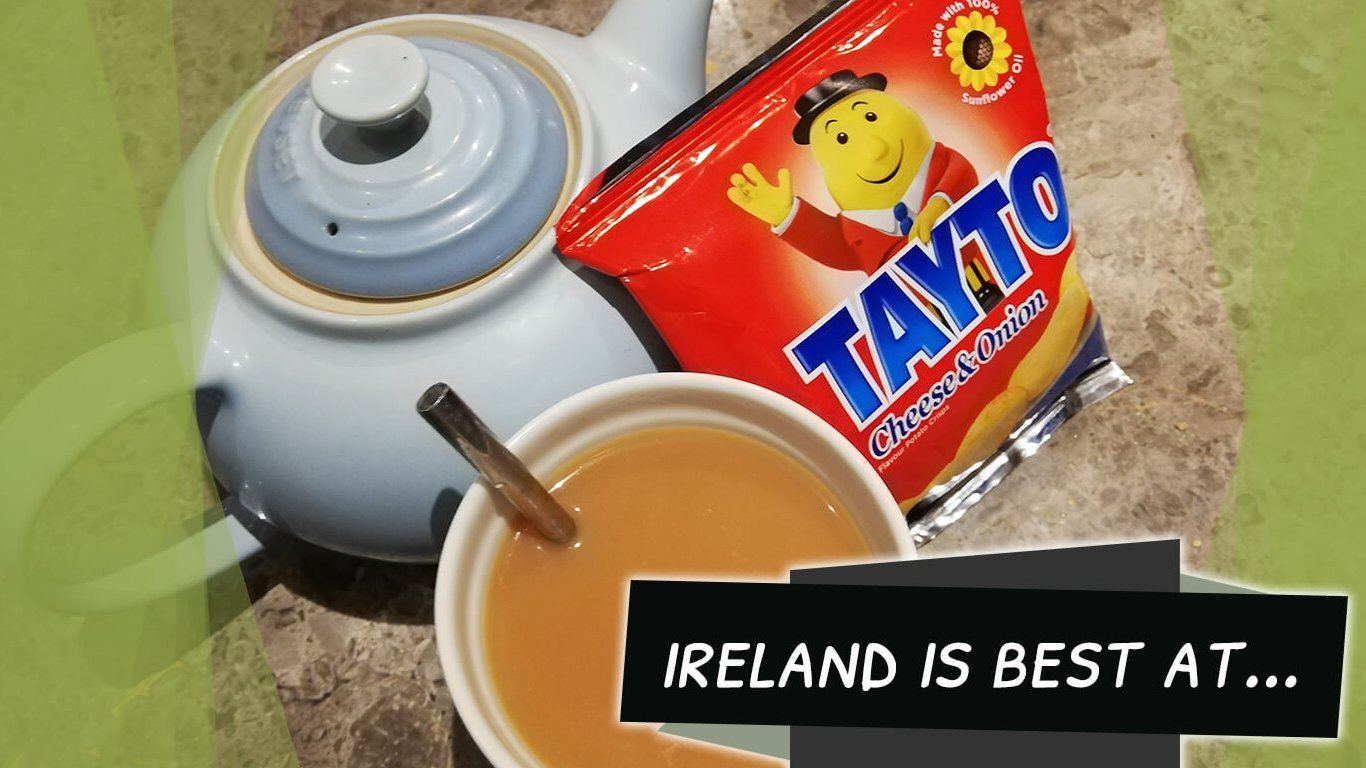 Blog feature image: cup of tea with teapot and Tayto crisps