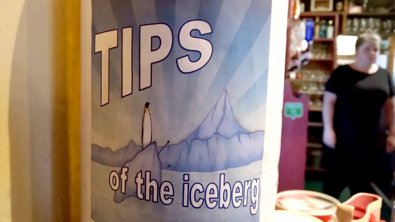 Tips jar in South pole inn in Kerry, Ireland