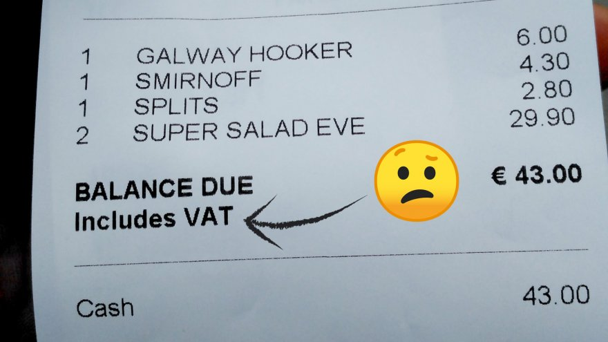 A sales receipt showing VAT tax rate and a confused emoji
