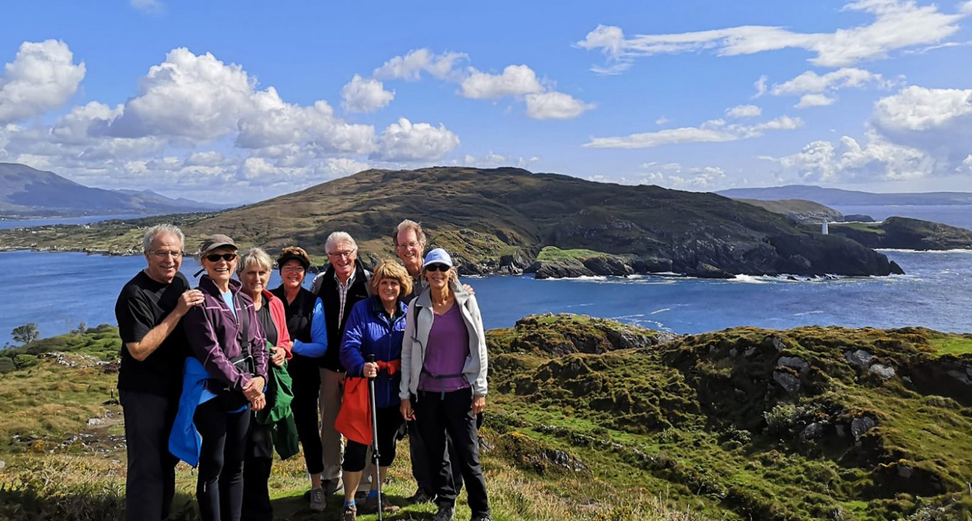 A group of guests doing the bullig bay loop walk on the beara peninsula