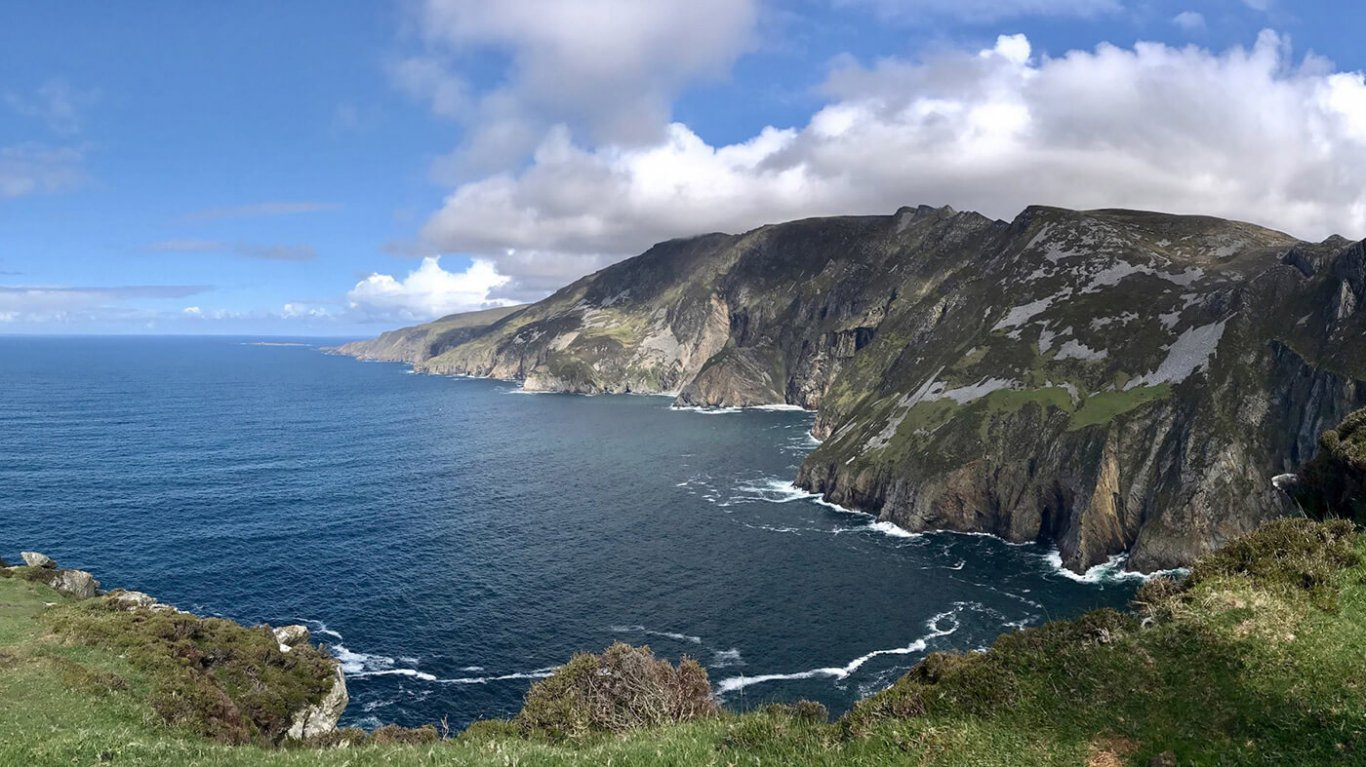 A wide angle of the Slieve League sea cliffs