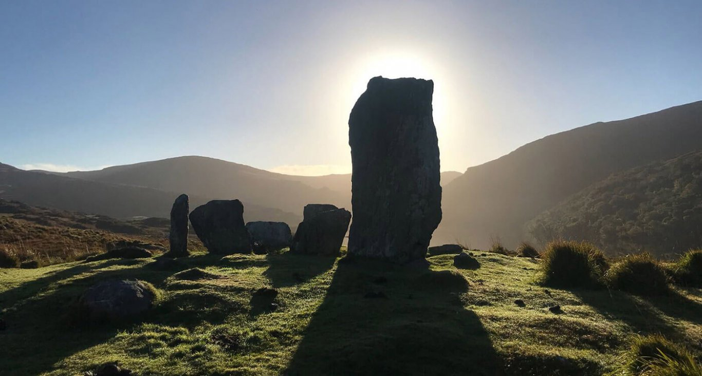 The uragh stone circle in the sunshine